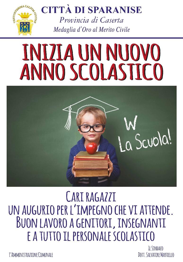www.comunedisparanise.it - AUGURI DI BUON LAVORO PER IL NUOVO ANNO  SCOLASTICO 2016-2017